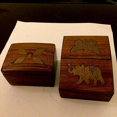 Two Vintage Hardwood Trinket Boxes Brass Inlay Decoration Elephant Moth