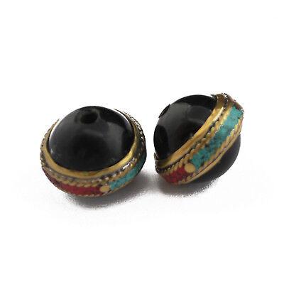 Turquoise Coral Black Onyx Brass 2 Beads Tibetan Nepalese Handmade Nepal UB2555