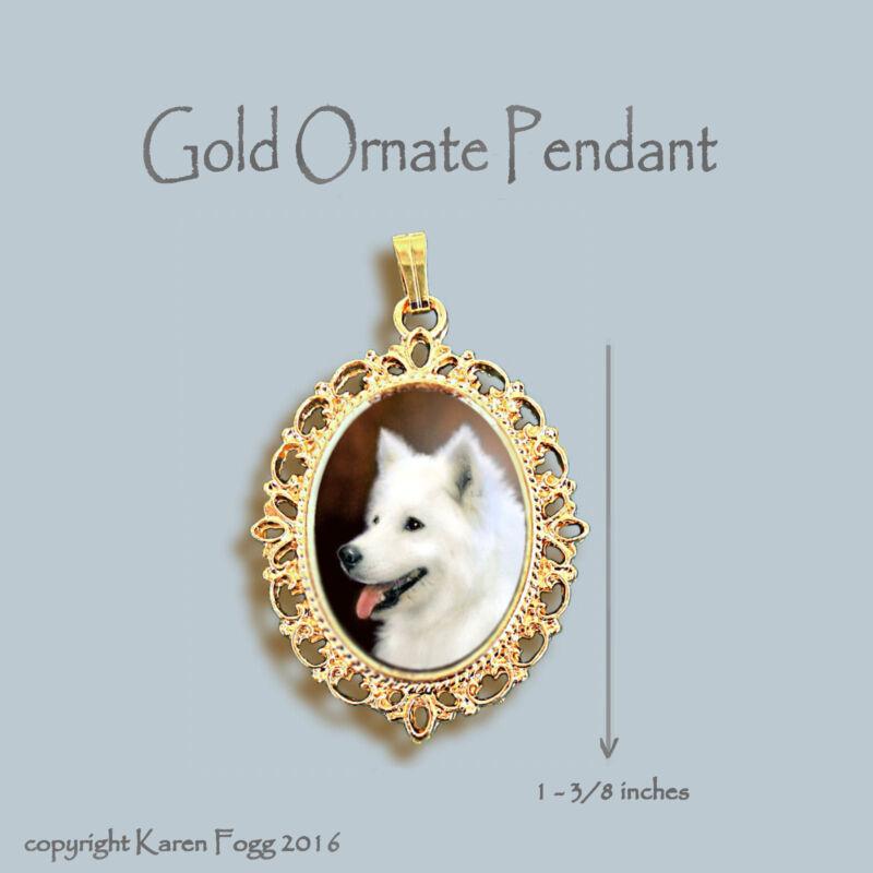 SAMOYED DOG - ORNATE GOLD PENDANT NECKLACE