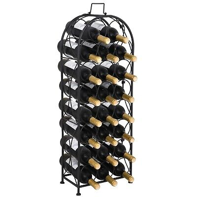 Arched Iron Wine Rack Freestanding 23 Bottles Steel Storage Organizer