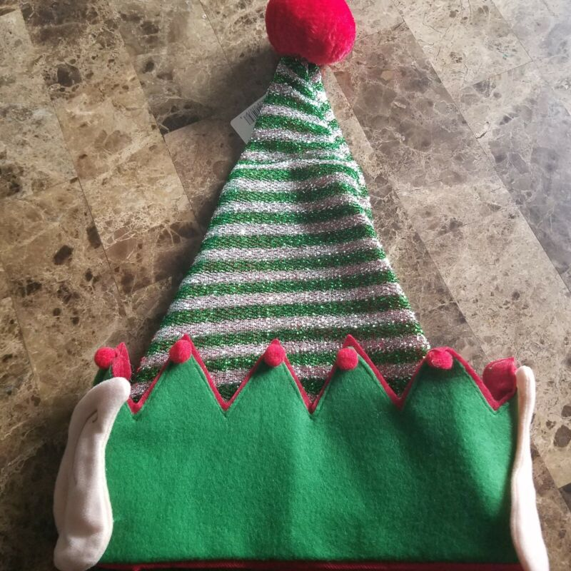 Elf Hat With Ears Sparkly Christmas Green Silver Red NWT Adult One Size