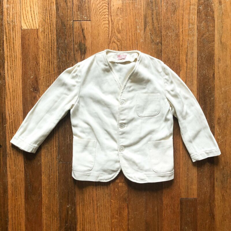 Vintage 1930s Boys White Cotton Blazer Jacket Twill Belted Back Sanforized 5 6