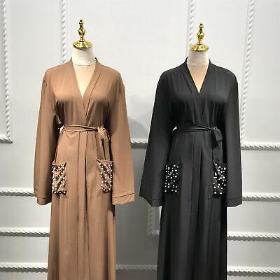 Dubai Muslim Kaftan Abaya Open Front Cardigan Jilbab Kaftan Kimono Long Robe New