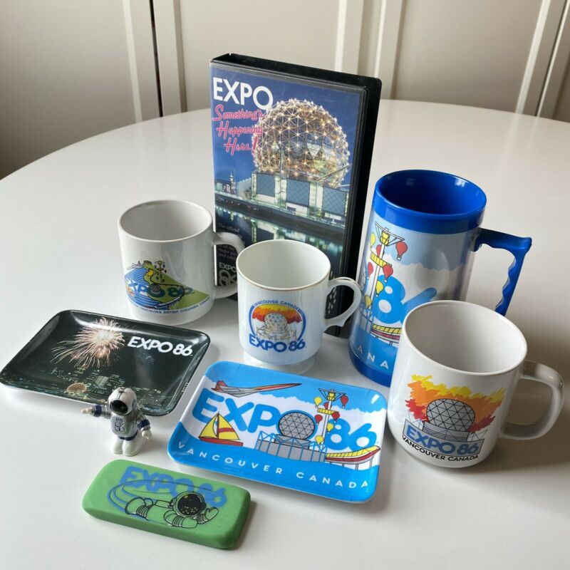 Expo 86 Collectibles Mugs Coin Dishes VHS Ernie • World Exposition Vancouver BC
