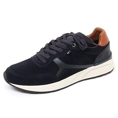 sale retailer 097c3 e3936 Details about B8608 sneaker uomo TOMMY HILFIGER scarpa blu scuro shoe man