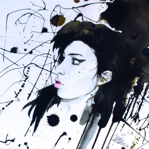 AMY WINEHOUSE UNCUT OFFSET LITHOGRAPH ART POSTER LAURA ZOMBIE 2011 EX RARE
