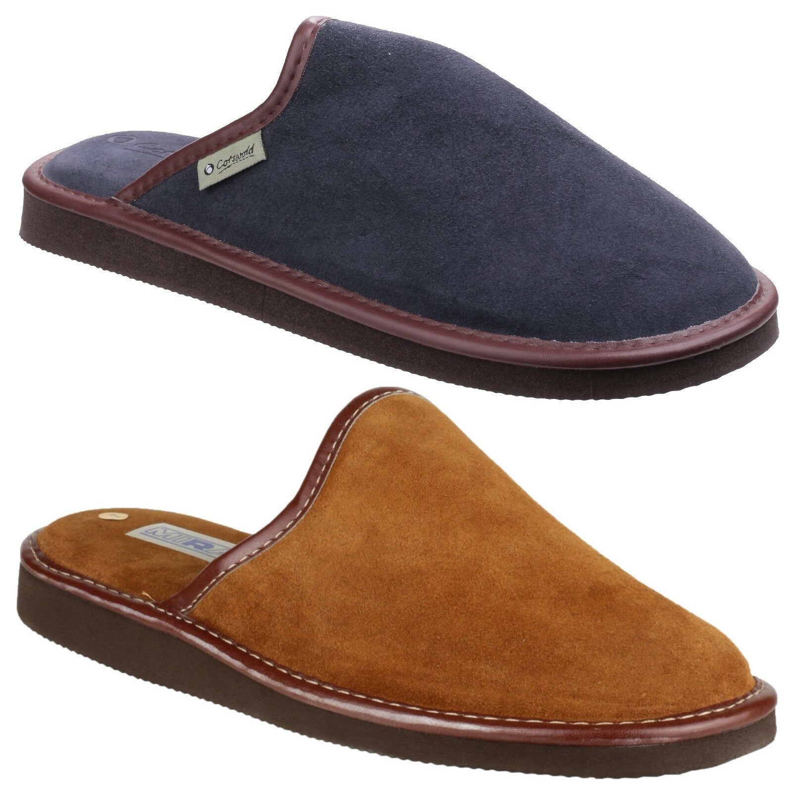 843ed0d18ee Cotswold Reg Lightweight Mule Mens Suede Leather Slip On Comfort Slippers