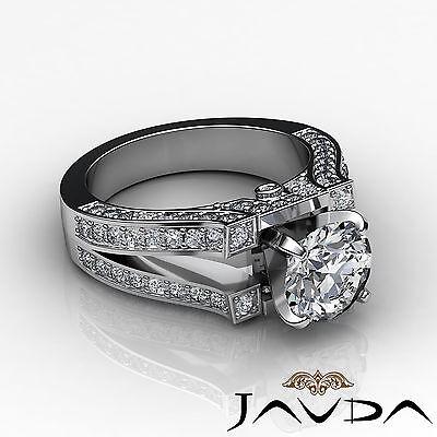 Split Shank Bezel Pave Setting Round Diamond Engagement Ring GIA F VS2 1.71 Ct 2
