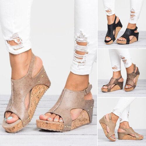 Damen Leder Riemchen Peep Toe Sandalen Sommer Schuhe Plattform Zehentrenner Mode