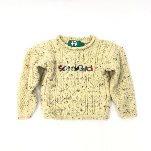 Mac Baaa Scotland Pure Wool Toddler Cable Knit Pullover Sweater Size 3-4 years