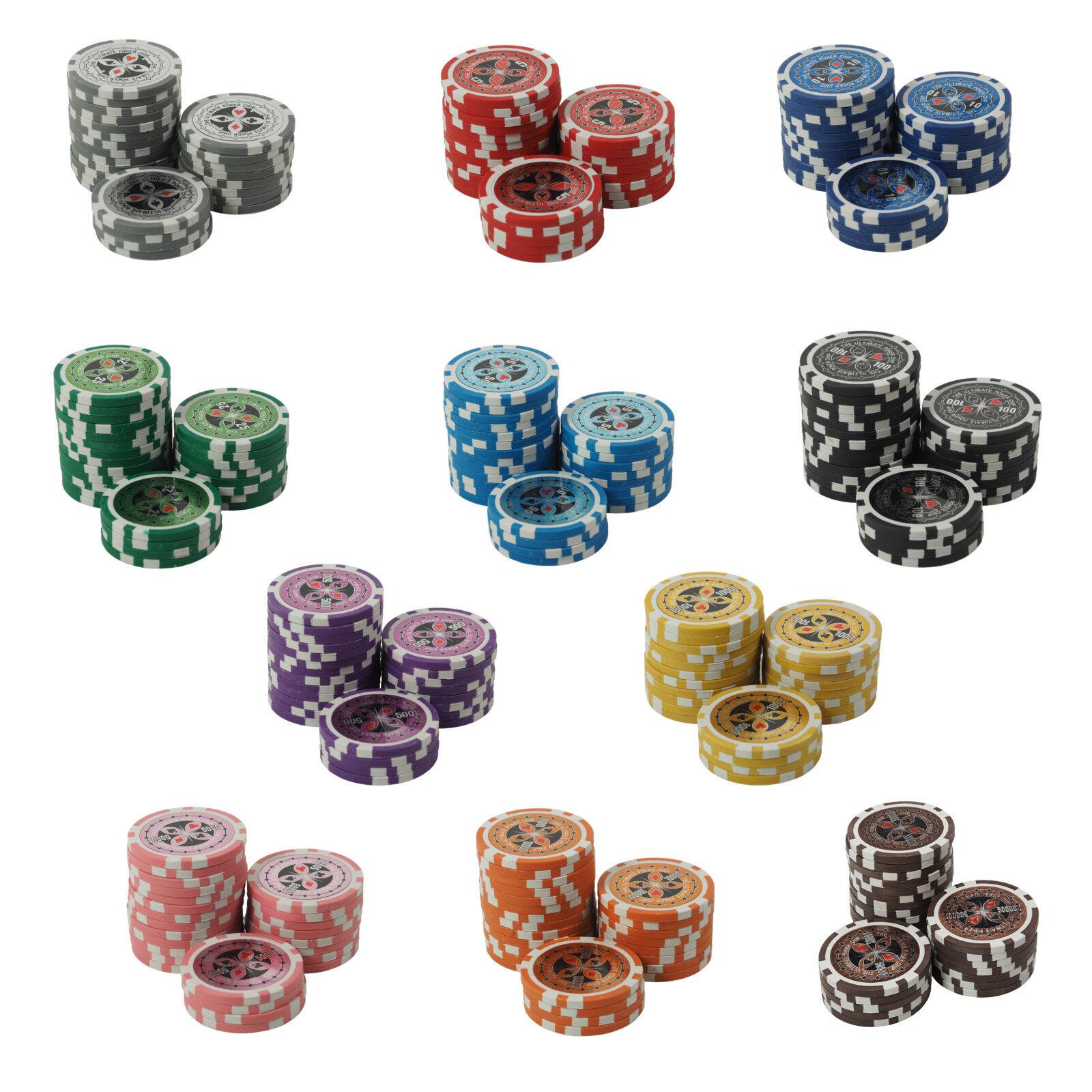 50 Pokerchips 13g Clay Laser Metallkern Casino Ultimate für Pokerkoffer B-Ware