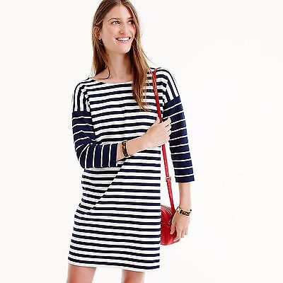 NWT J.CREW COLORBLOCK STRIPE PONTE Knit DRESS NAVY IVORY XS S F5572 $88 FA'16 SO
