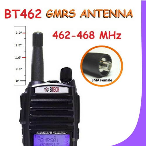 BT462 High Performance Tuned Stubby UHF GMRS Antenna for BTECH GMRS-V1 Baofeng