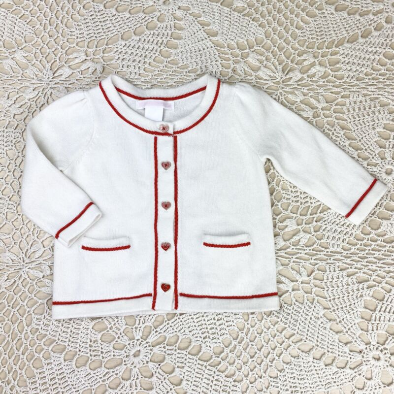 Janie And Jack Heart Button Cardigan French Valentine 2015 3 6 Months Baby Girl
