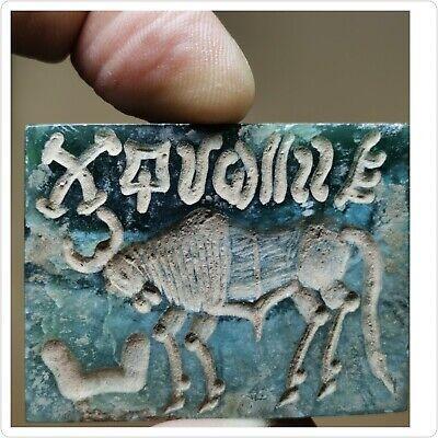 Wonderful old Indus valley intaglio seal stone letter symbols stamp  # 24