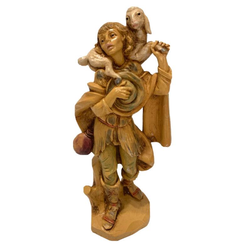 Fontanini Depose Italy Nativity Gabriel with Sheep 515 Spider Mark 6.5 Inch Tall