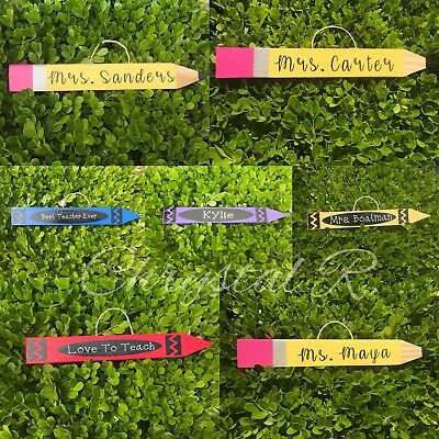Personalized Wooden Teacher Pencil and Crayons- Teacher Appreciation Gift - Pencil Crayons