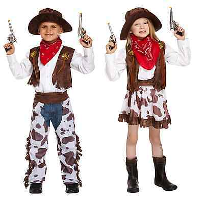 Cowboy Cowgirl Childs Fancy Dress Up Costume Outfit Western Wild Outfit Hat Kids (Cowgirl Dressing Up Outfits)
