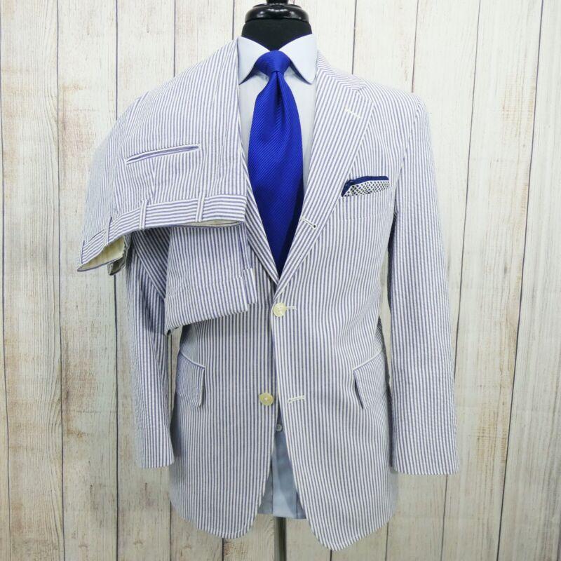 Trad Summer Vtg J Press Seersucker Cotton 2pc Men Suit Jacket Ff