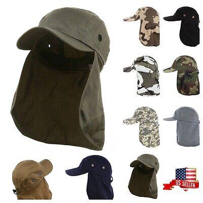 (Men's Baseball Cap Neck Cover Hiking Fishing Hunting Camo Army Bucket Sun Flap )