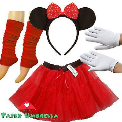 Minnie Maus rot Tutu Kopfband Kostüm Junggesellinenabschied Buch Woche 80' (Maus Kopf Kostüm)