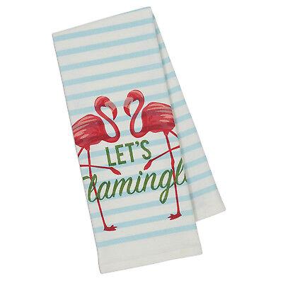 Let's Flamingle Dish Towels Set of 2 New Flamingos Striped Cotton Kitchen Tea