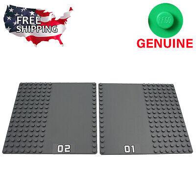 x2 Lego Dark Gray Road Street Baseplates Base Plates Brick Building 16 x 16 Dots