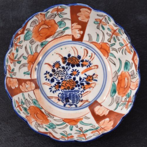 LOVELY Antique JAPANESE IMARI Hand Painted Oriental BOWL Scalloped MEIJI Period