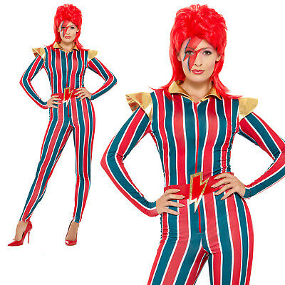 Space Superstar Costume 70s 80s Ziggy Stardust Womens Ladies Fancy Dress Outfit