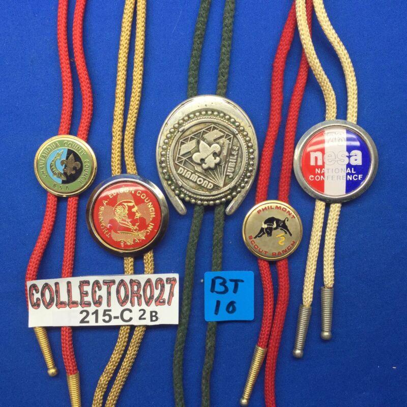 Boy Scout 5 Bolo Ties Mixed Lot  # BT10 NESA Chautauqua Edison Philmont