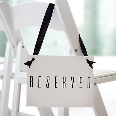 2 Reserved Signs Wedding Chair Signage Ceremony Row Church Aisle Family Event](Wedding Ceremony Signs)