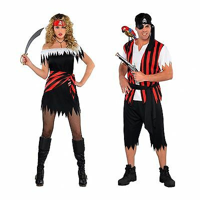 Mens Womens Caribbean Pirate Captain Halloween Fancy Dress Party Couples Outfit - Couple Outfits Halloween