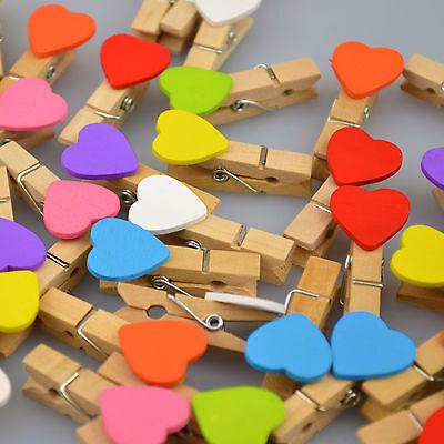 Mini Love Heart Wooden Wedding Pegs Table Decoration Party Favour Decor Romantic