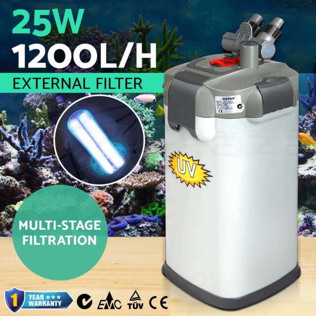 Fish Tank Aquarium Filter Sponge Aqua External Canister Water UV Bulb 1200LPH