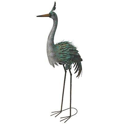 Reiher Skulptur Vogelfigur Kranich Vogel Metall kupfergrün/braun 107 cm XXL Deko