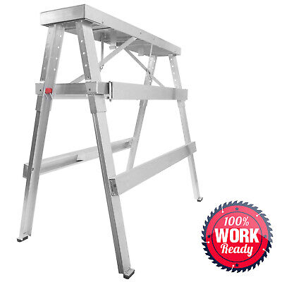 Drywall Bench Sawhorse Step Ladder - Adjustable Height Workbench 18-44