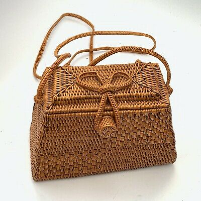 Vintage Woven Wicker Small Shoulder Bag Purse Wicker Woven Handbag