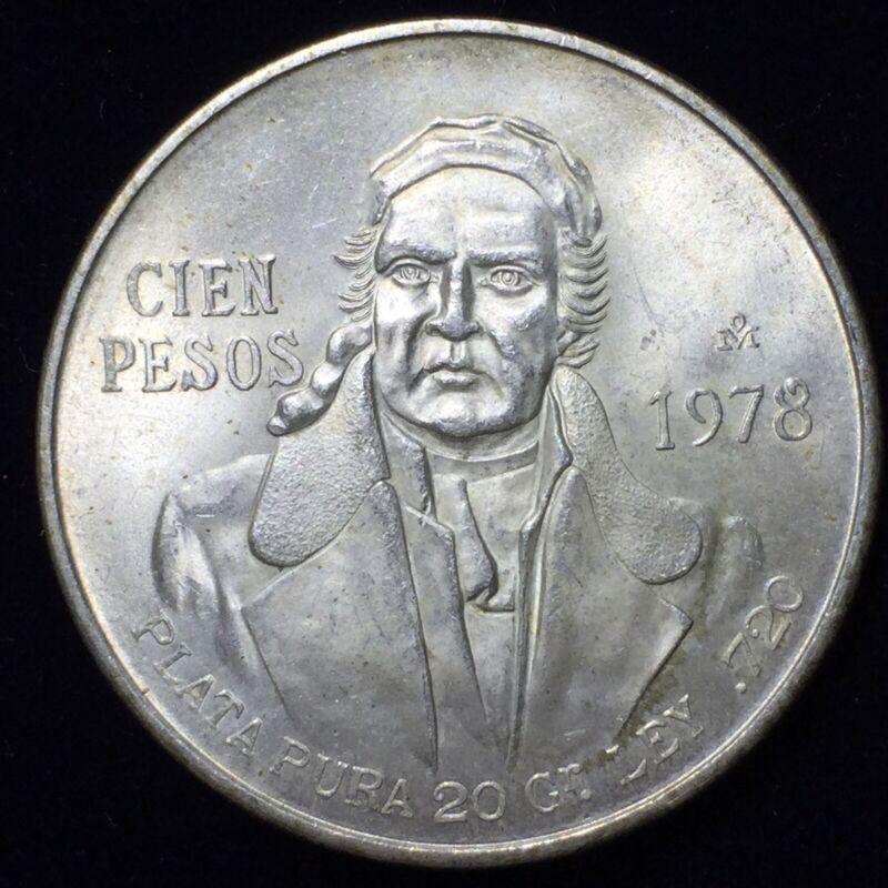 Big Silver 1978 Mexico 100 Pesos to UNC AU