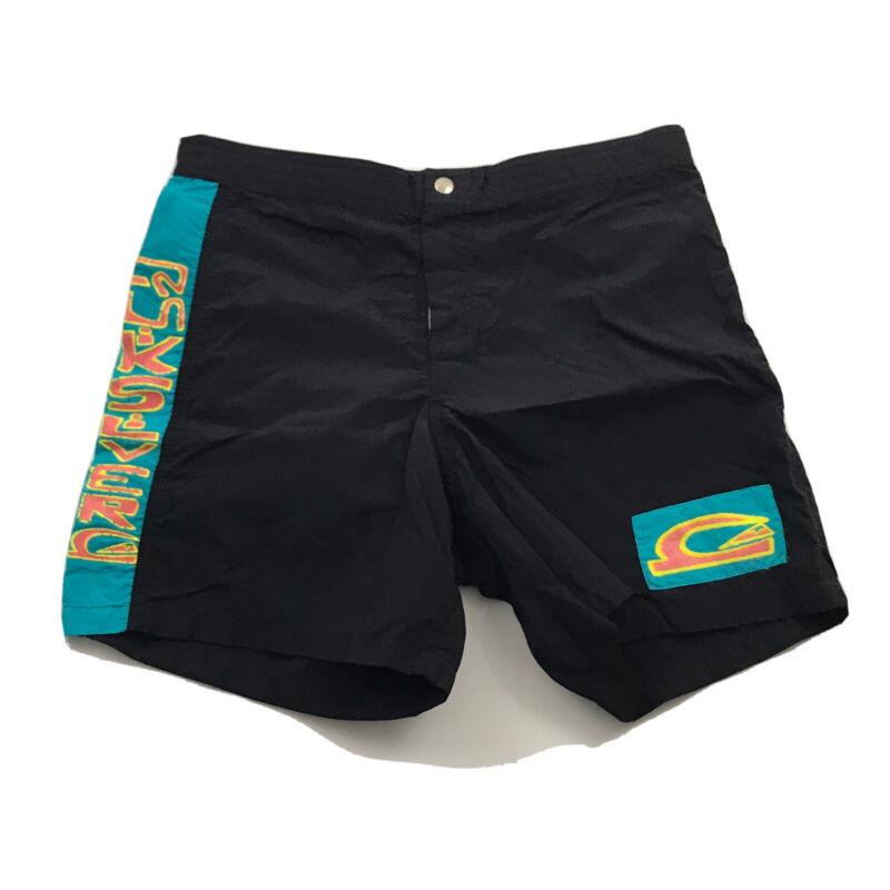 Vintage Quicksilver Board Shorts 80s Made in USA Black Retro Men