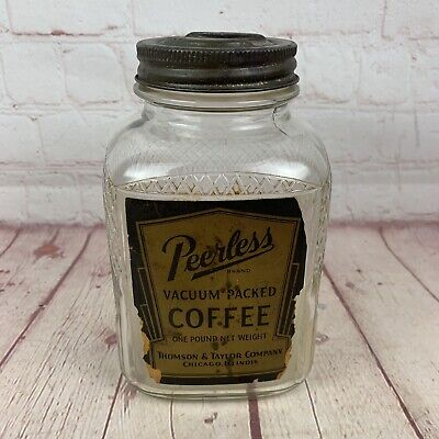 Vintage Glass Coffee Jar w/ Old Label and Lid PEERLESS COFFEE