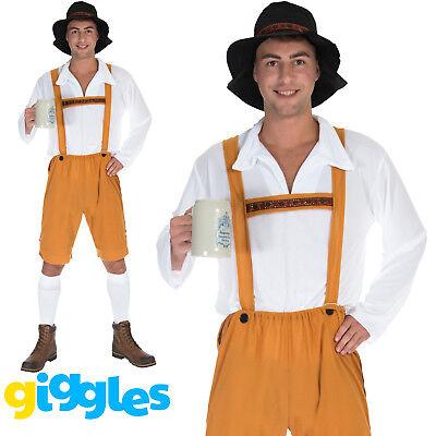 Mens Oktoberfest Lederhosen Costume Bavarian Beer Man German Fancy Dress - Mens Lederhosen Costume