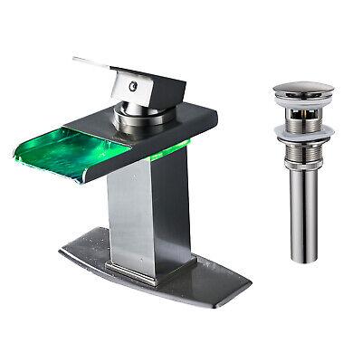 Brushed Nickel Deck - BWE Brushed Nickel LED Bathroom Sink Faucet Lavatory Single Handle Deck Mount1