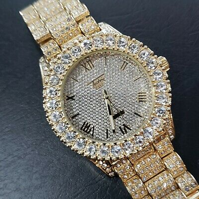Mens 14k Gold Plated Lab Diamond Fully Iced Gold Face Hip Hop Watch A006