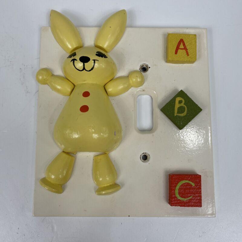Vintage 3D Nursery Switch Plate Wood Handpainted Rabbit Bunny ABC