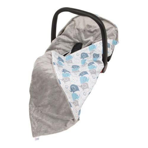 New Boy Blue Elephants Car Seat Baby Wrap / Car Seat Blanket / Grey & Blue Wrap