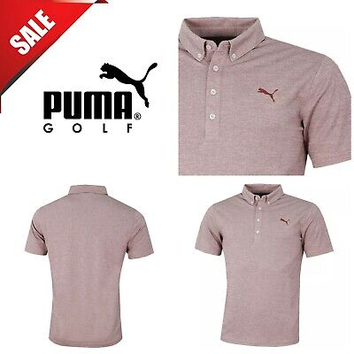 Puma Golf Mens Oxford Heather dryCELL Short Sleeve Polo Shirt New Pomergranate