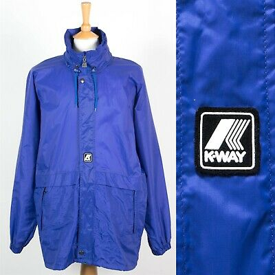 MENS VINTAGE K-WAY CAGOULE KAGOUL RAIN JACKET WATERPROOF FESTIVAL SAILING L