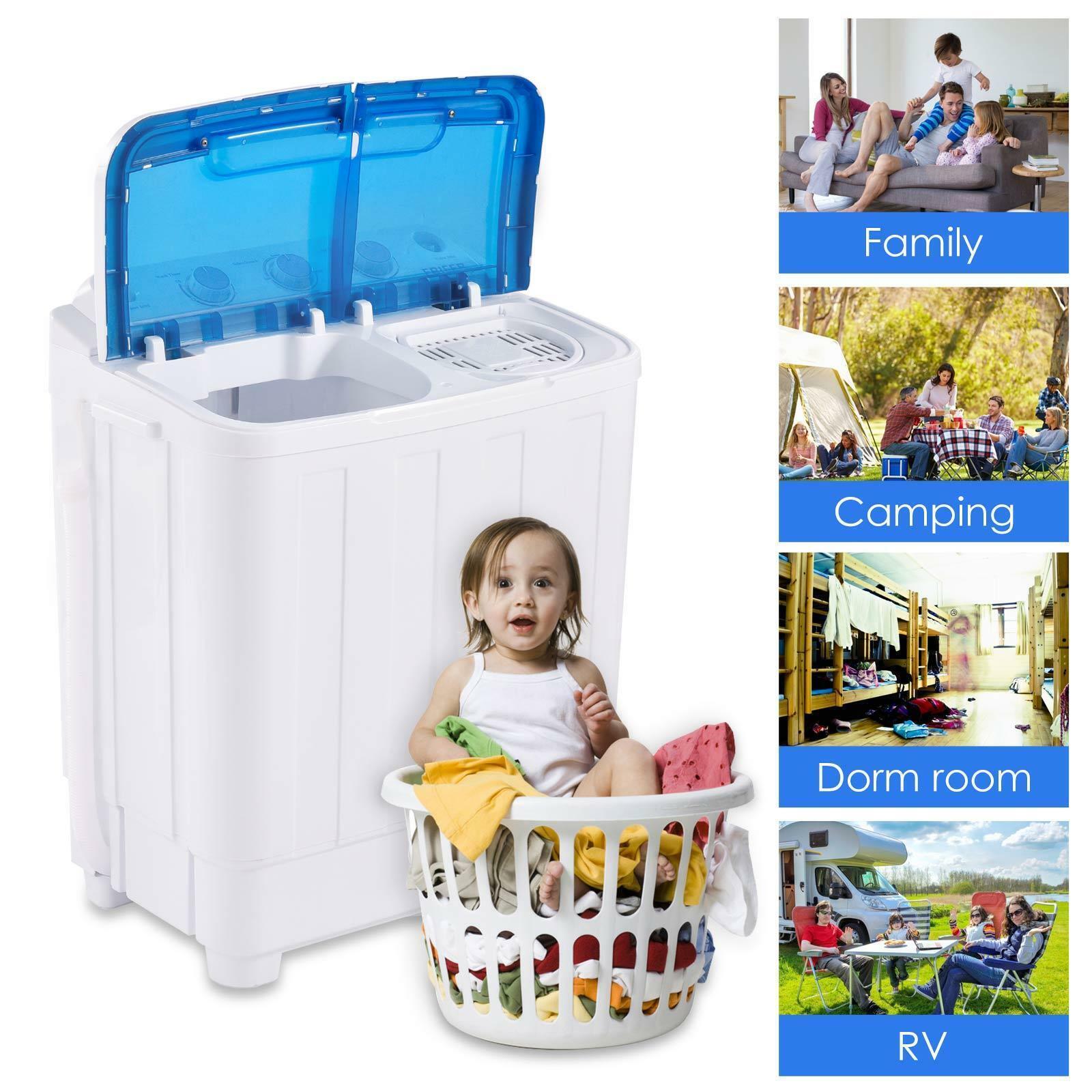 10 LBS Mini Washing Machine Compact Twin Tub Laundry w/ Drai