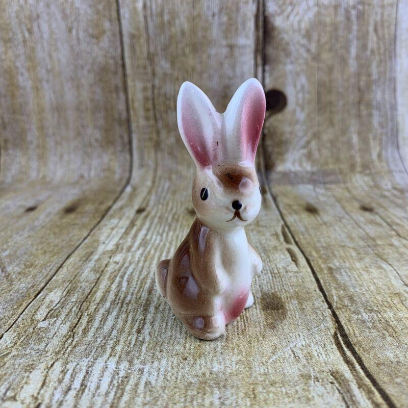 Vintage Bunny Rabbit Miniature Brown Porcelain