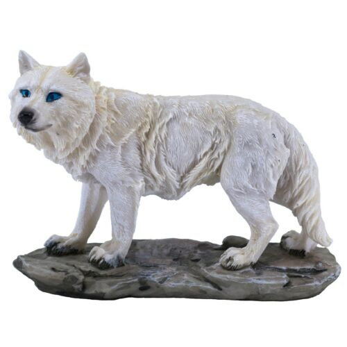 """White Wolf Standing Figurine Statue 5.75"""" Long Resin New"""